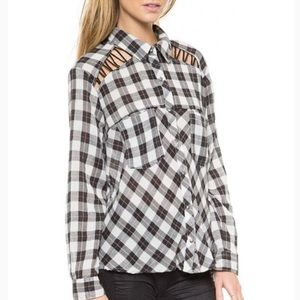Free People Gauzy Flannel Plaid Top